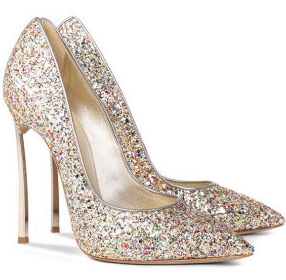 ФОТО Style Metal High Heels Pointed Toe Women Glitter Wedding Shoes Slip-on Celebrity Stilettos Women Pumps Shining Tenis Feminino
