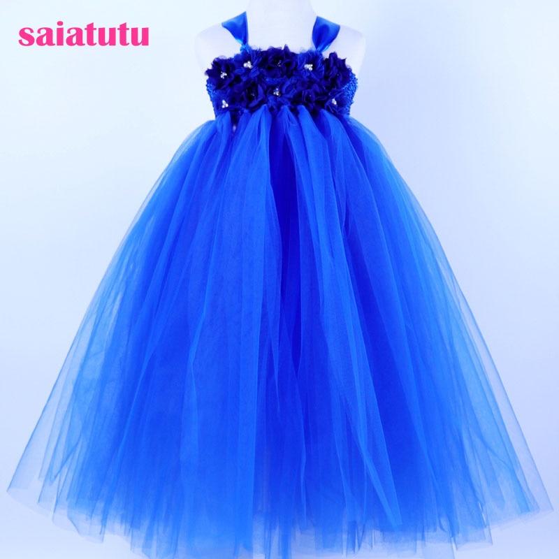 sapphire royal blue tutu Girls Dress Mesh crystal Children Wedding Party Dresses Kids Evening Ball Gowns Formal Frocks Cloth sapphire