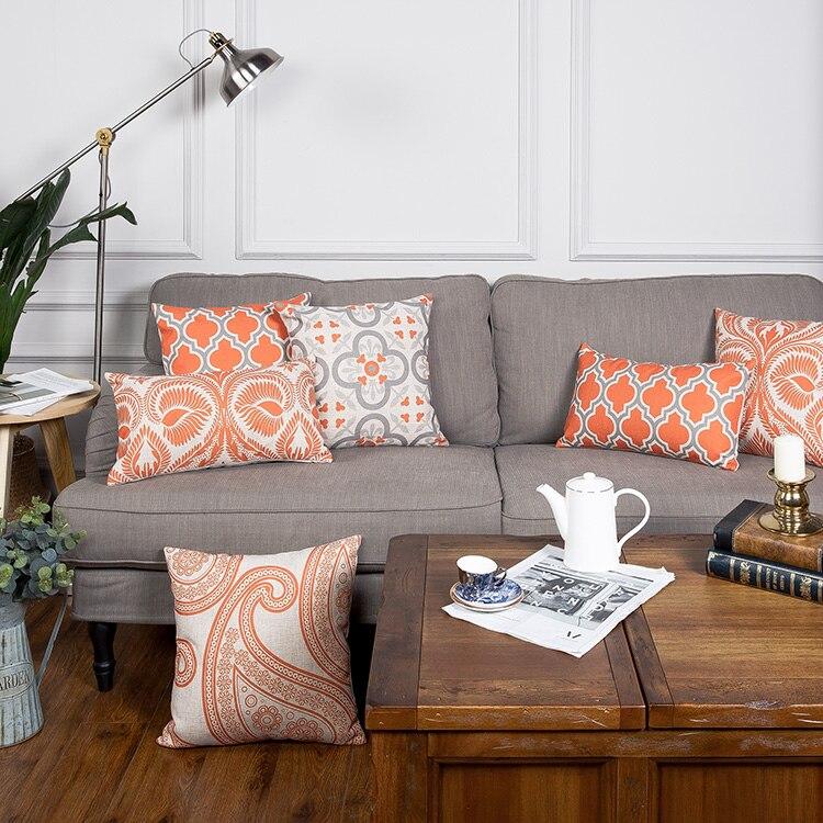 00e58c322930 Drop Ship Orange Grey Geometric Pillow Cover Boho Linen Cotton Cushion  Cover Decorative Throw Pillows Pillowcase Pillowsham 17
