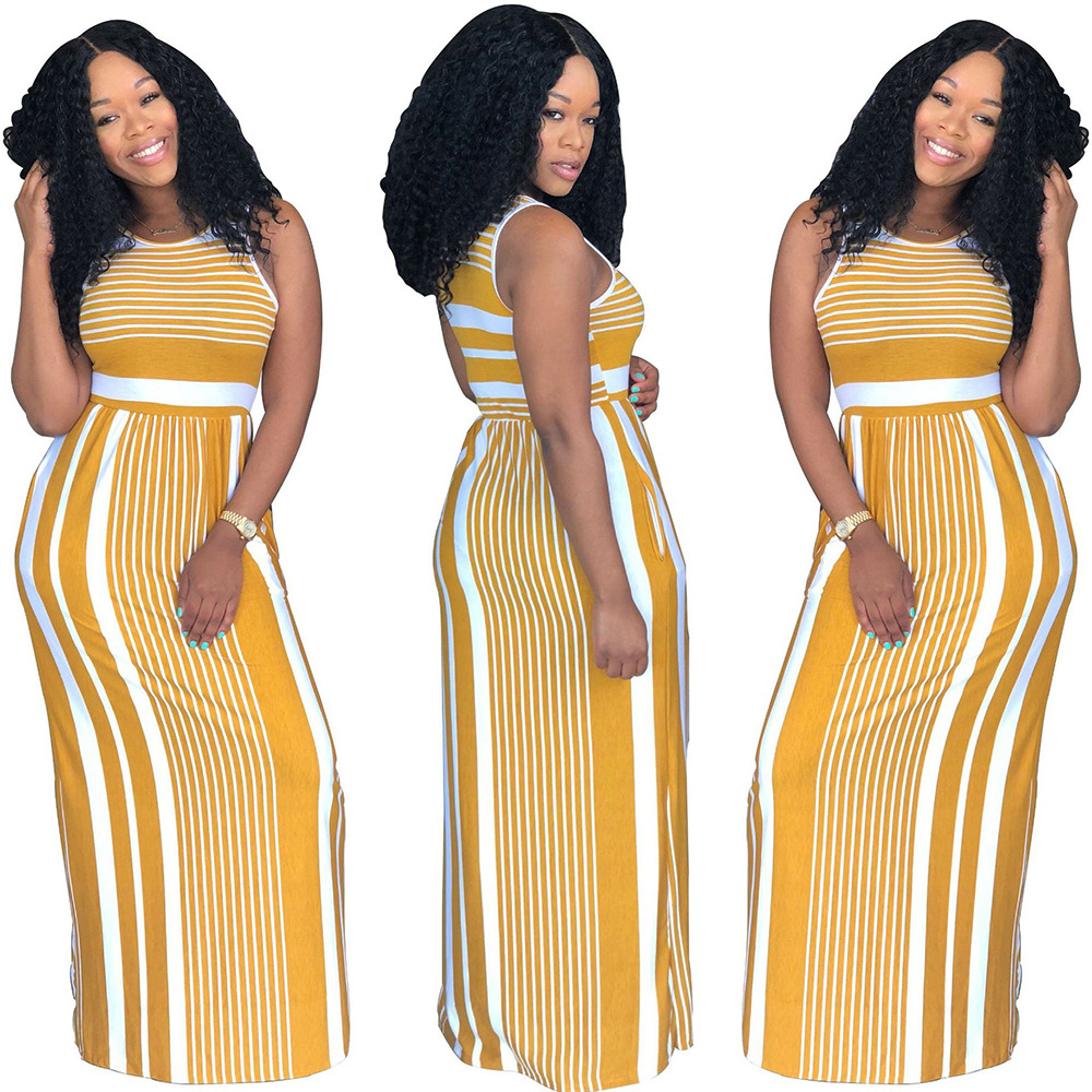 2018 African Fashion Hot Stripe Yellow African Long Skirt Ladies O Collar Sleeveless Long Skirt African Ladies Tight Cut-out Lon