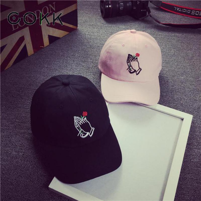 COKK Snapback Dad Hats For Women Rose In Hands Embroidery Baseball Cap Men Bone Casquette Sun Visor Hat Polo Cap Hip Hop Kpop