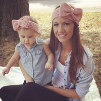 New Mom And Me Matching Bow Turban Headband For Hair Accessories Parentage Wool Knitted Women Baby