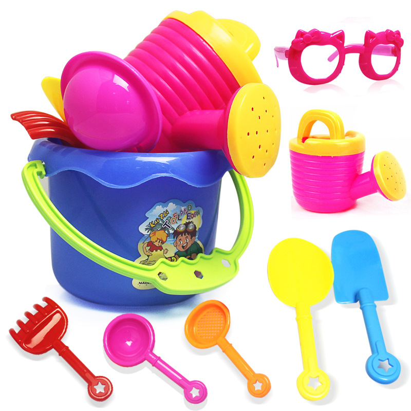 Beach Toys 9pcs/lot High quality Bucket Rakes Spraying Sand Playing Tools Outdoor Beach Play Bath Toys For Children Gifts ...