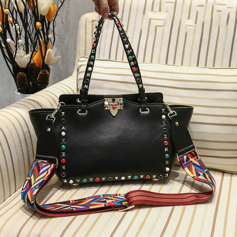 2017 Colorized Studded Genuine Leather Vintage Large Luxury Brand Trapeze font b Bags b font Rivets