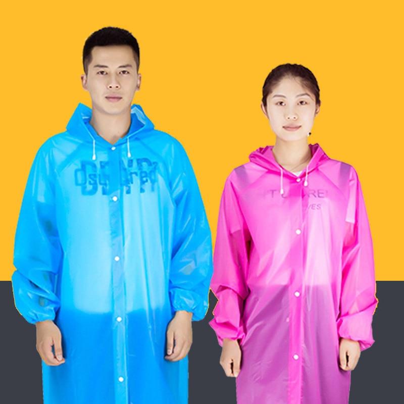 Transparent Raincoat Women Men Portable Outdoor Travel Rainwear Waterproof Camping Hooded Ponchos Plastic Disposable Rain Cover