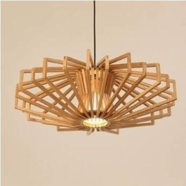 Pendant Lights Japanese solid wood restaurant bedroom living room LED lamp creative personality big round diamond pend LU718111 chinese style classical wooden sheepskin pendant light living room lights bedroom lamp restaurant lamp restaurant lights