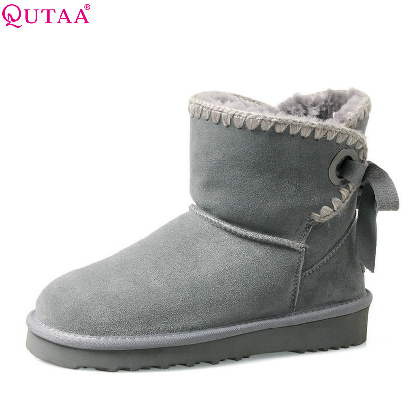 QUTAA 2018 Women Snow Boots Fashion Ankle Boots Winter Keep Warm Short Plush Round Toe Cow Suede Women Boots Size  34-39