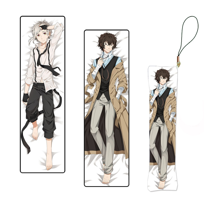Hot Anime Otaku Bungou Stray Dogs Mini Dakimakura Pillow Hanging Ornament Phone Strap Gift 3*10cm