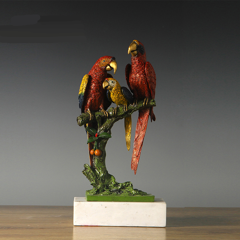 New Item Scarlet Macaw Bronze Sculpture Statue For Home Decor Wildlife Lucky Birds Sculpture Fengshui Business Gift