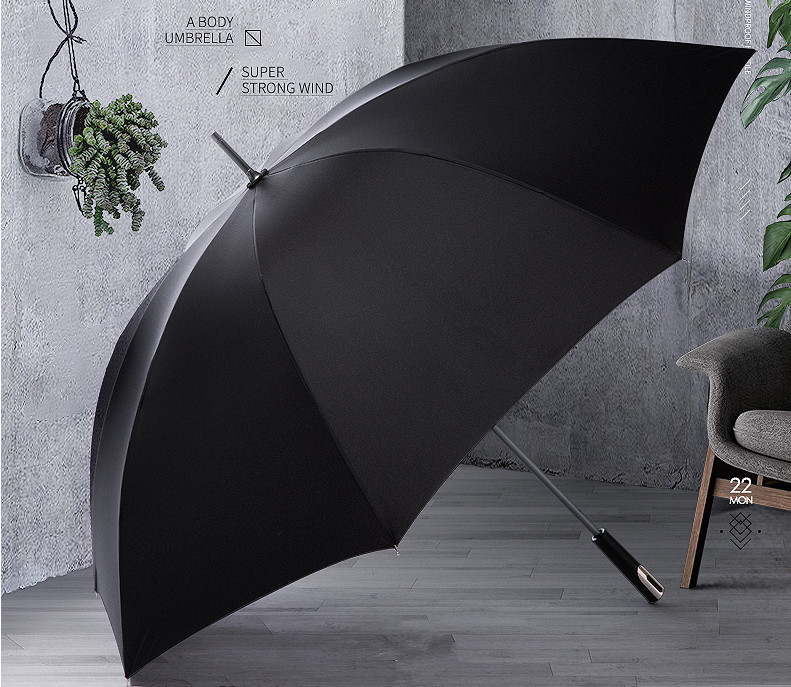 Manual straight anti thunder fiberglass business umbrella stick hand open 14mm aluminium super light commercial rubber parasol in Umbrellas from Home Garden