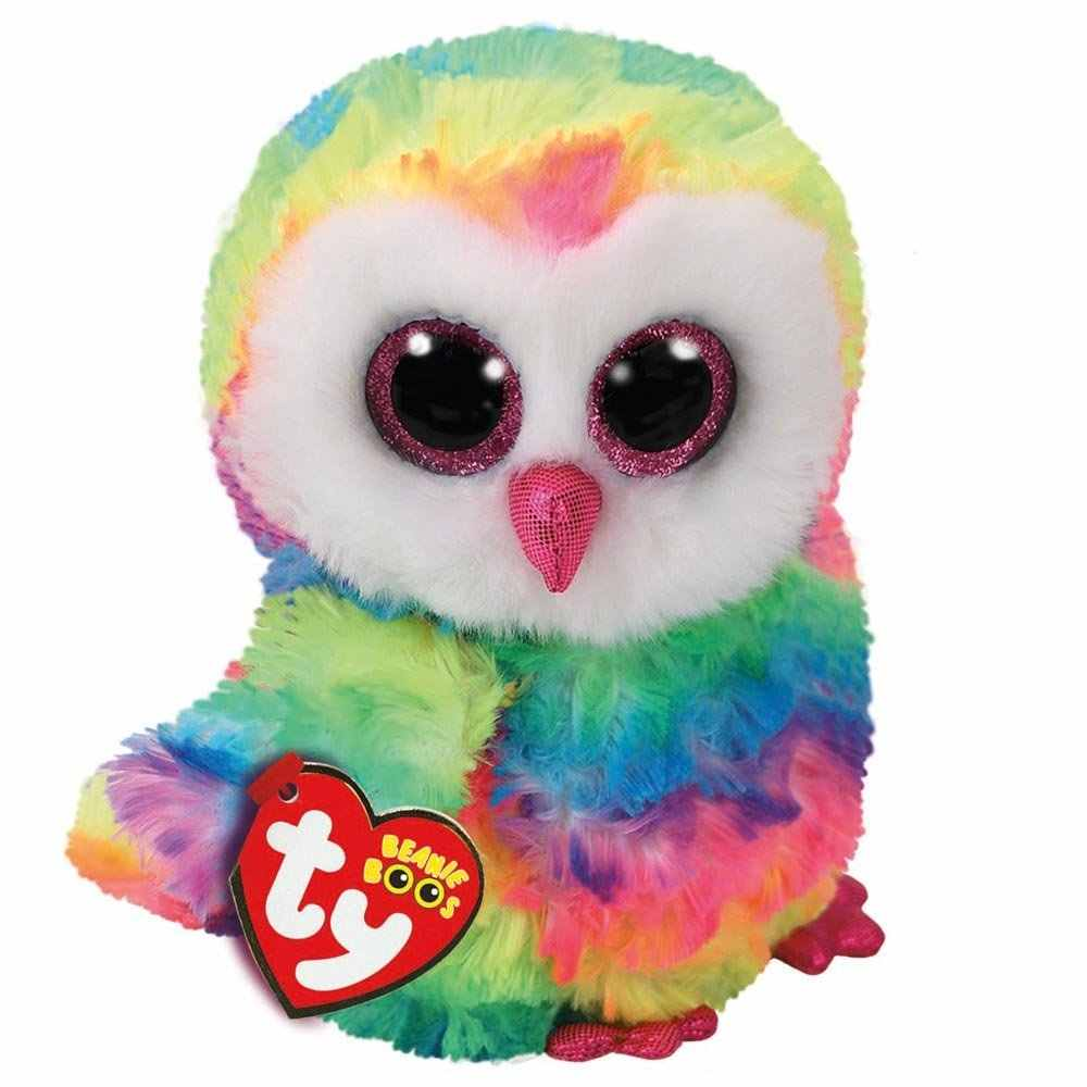 Detail Feedback Questions about Ty Beanie Boos Cute Animals New Colorful  Owl Plush Toy Doll Owen With Tag 6
