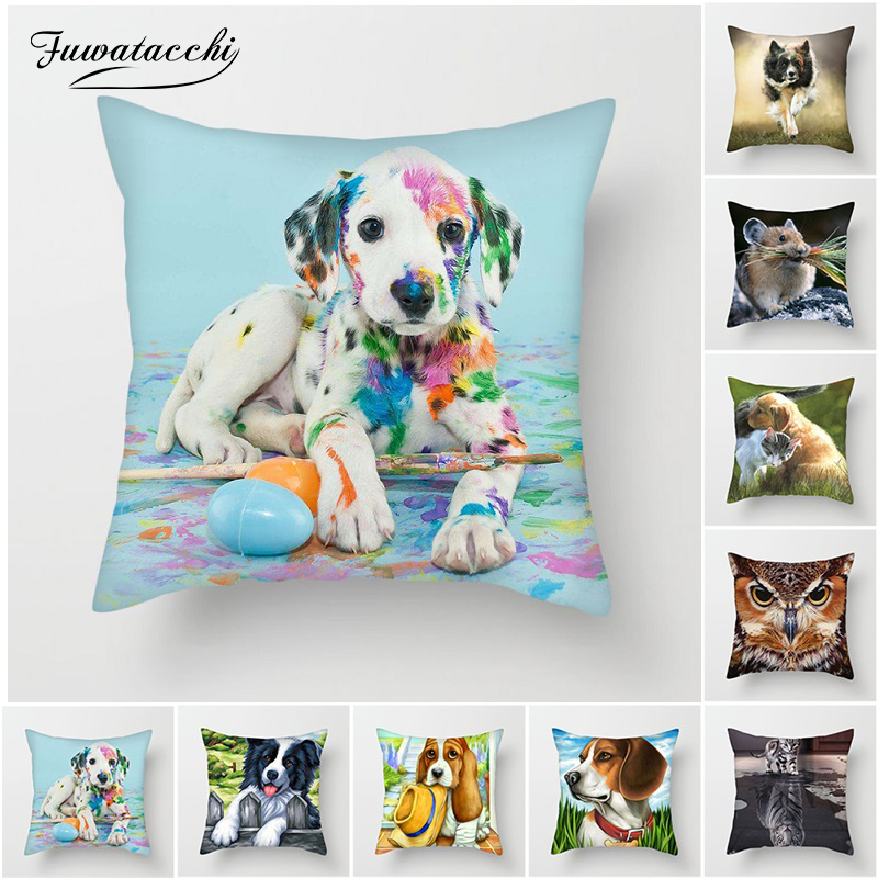 Fuwatacchi Cute Animal Pillow Cover Polyester Stylish Colorful Dog Cat Eagle Cover for Sofa Living Room