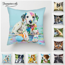 Fuwatacchi Cute Animals Pillow Cover Dog And Cat Cushion Cover for Sofa Home Chair Decor Elephant