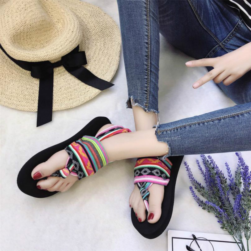 2018 New Flip Flops Fashion Summer Stripe Round Toe Flat -1055