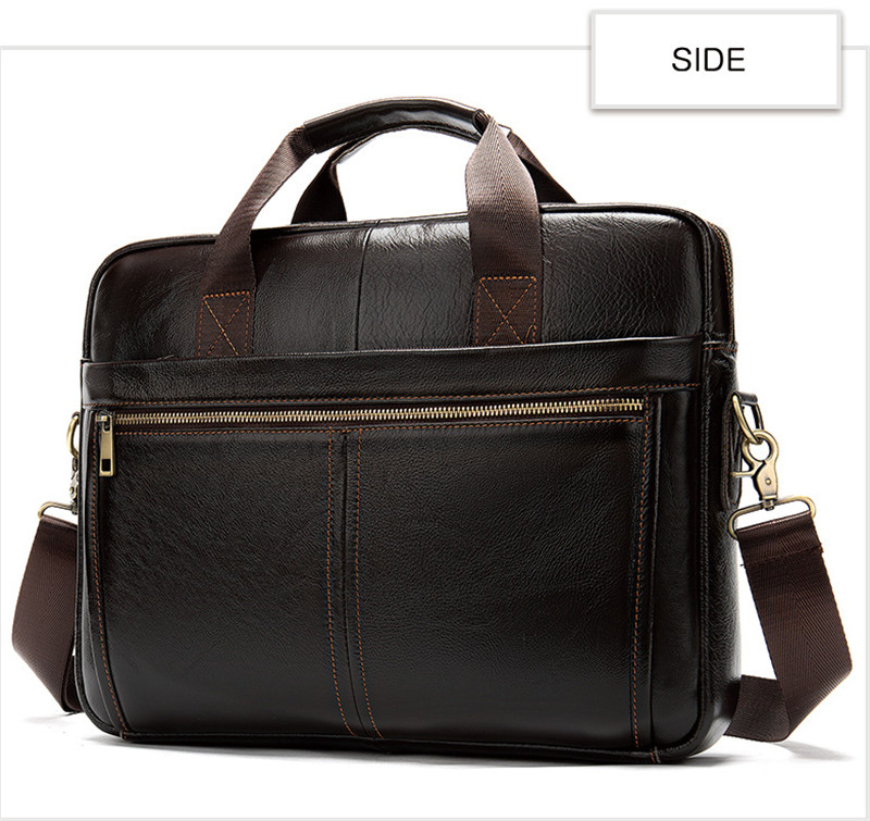 leather Men's soft briefcase 18