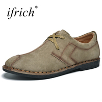 Ifrich New Arrival 3 Colors Leather Casual Shoes Men Summer Autumn Designer Shoes Luxury Brand Khaki