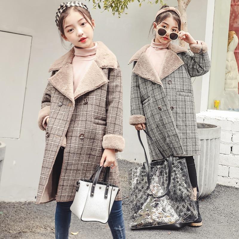 4 5 6 7 8 9 10 11 12 13 14 Years Girls Woolen Coat Autumn Winter Thickening Coat 2018 New Large Children's Woolen Long Jackets [available from 11 11]hat woolen hat canoe3448347