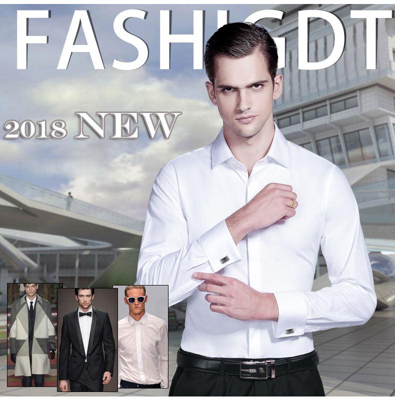 Image 2 - Mwxsd high quality French Men Tuxedo Dress Shirt Mens silk cotton  formal wedding Shirt long sleeve solid male slim Fit shirtTuxedo  Shirts