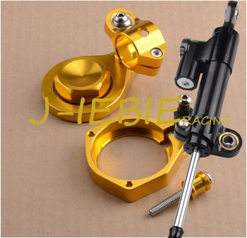 CNC Steering Damper Stabilizer and Gold Bracket Mounting For BMW S1000RR S1000 RR 2009-2012 2010 2011