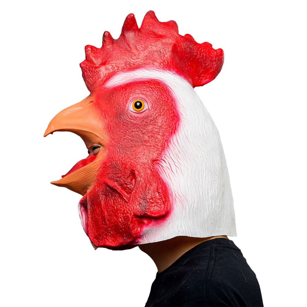 Halloween Animal Latex Masks Big Cock Full Face Mask Adult Cosplay Props