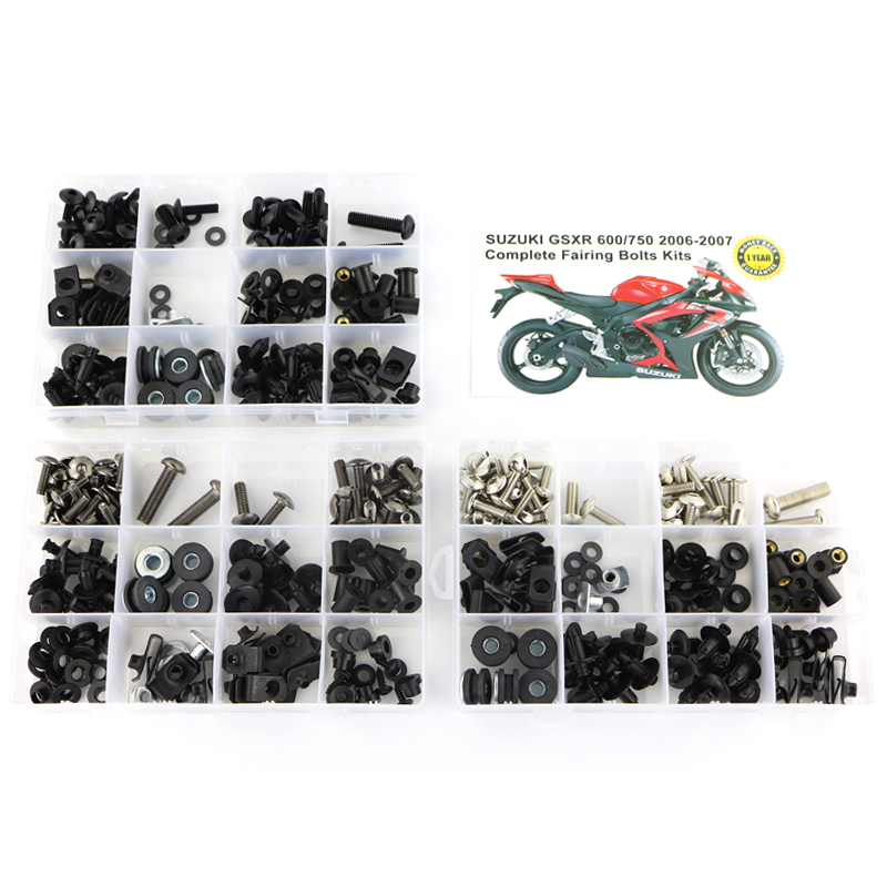For Suzuki GSXR600 GSXR750 GSX-R600 750 <font><b>GSXR</b></font> <font><b>600</b></font> 750 2006 <font><b>2007</b></font> Complete Full <font><b>Fairing</b></font> Bolts <font><b>Kit</b></font> <font><b>Fairing</b></font> Clips Screws Steel image