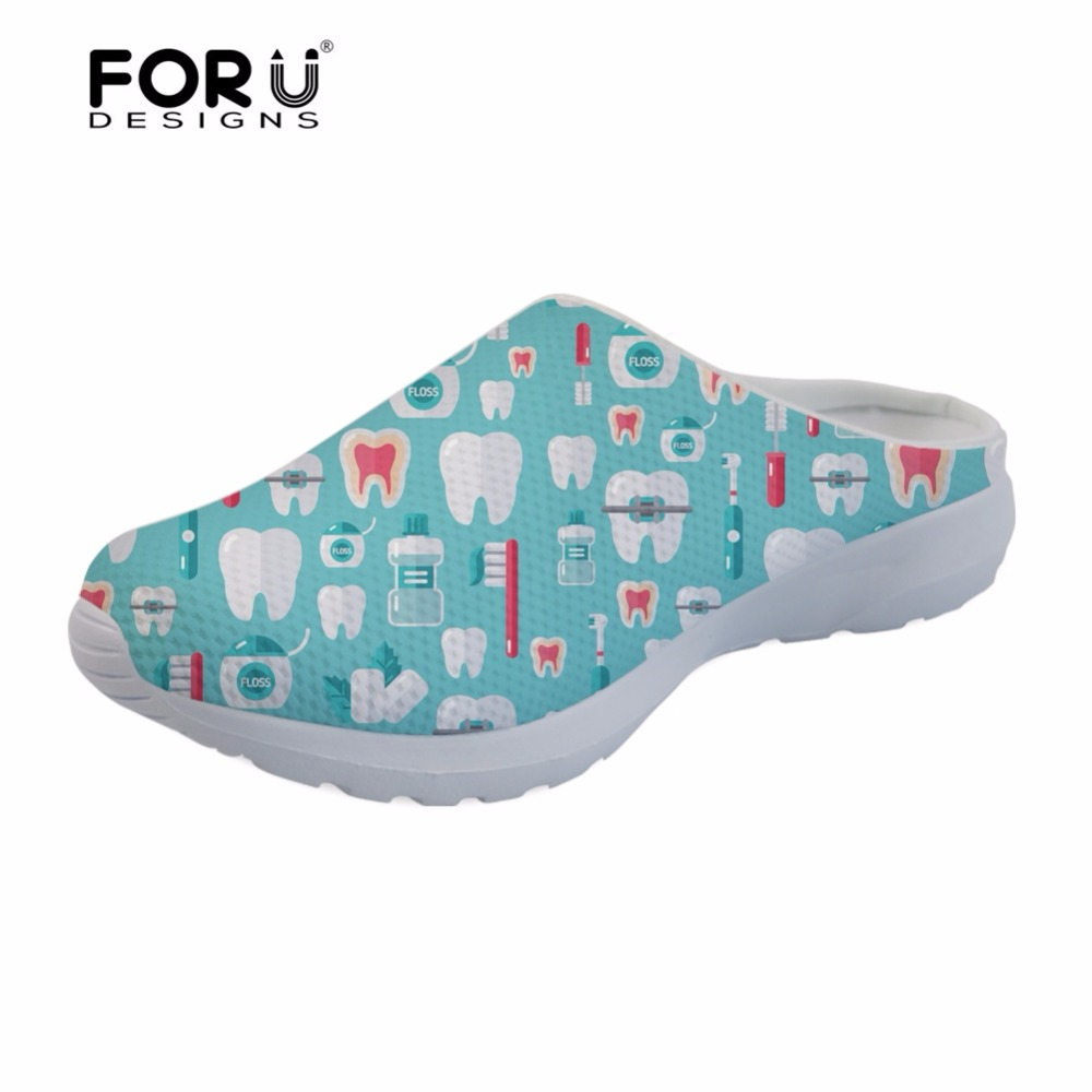 FORUDESIGNS Dentista Sandals Women Cute Cartoon Dentist Print Flats Casual Womens House Slippers Woman Fashion Sandals Girls