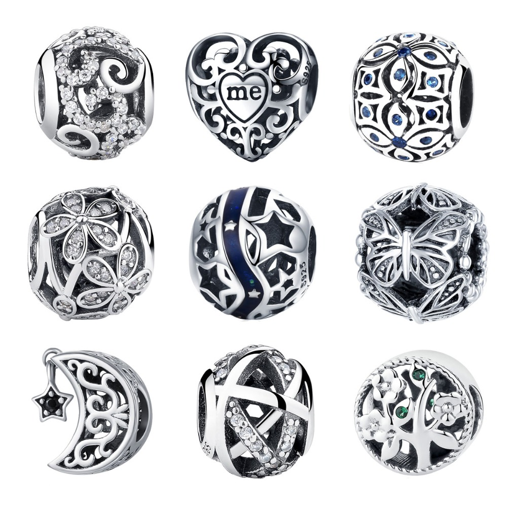 BISAER 925 Sterling Silver Love All Around CZ Beads Fit Charms Silver 925 Oryginalna bransoletka Koraliki i biżuteria Making berloque