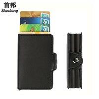 PU Deri Otomatik Kredi Kartı Tutucu Pop Up Metal Cardcase Koruma RFID Engelleme Ince Deri Cüzdan