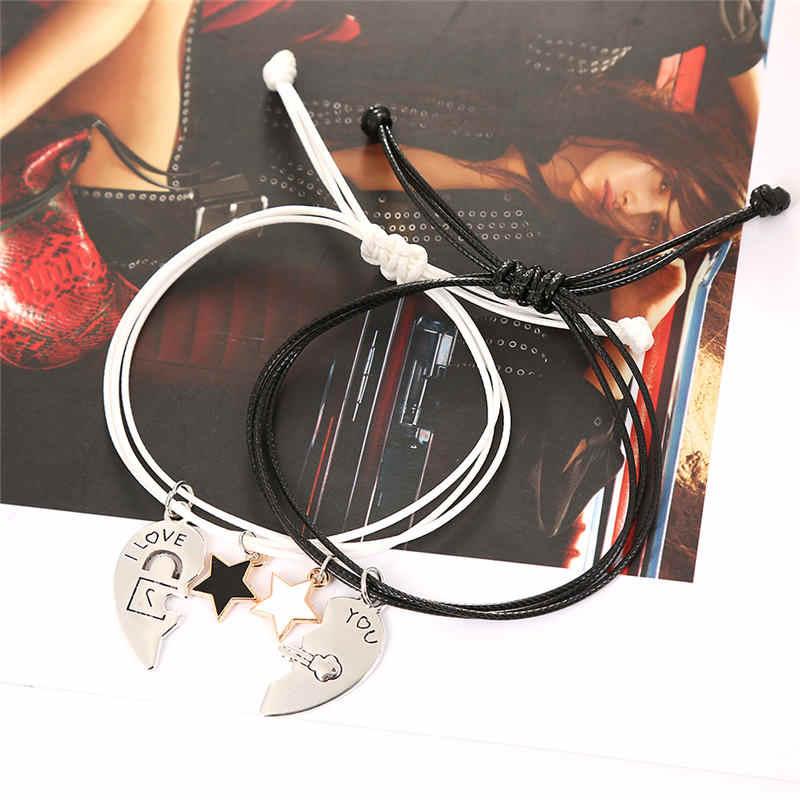 嘉 & コウ 2 ピース/ペアステッチハート愛好家のための完全なギフトガールフレンドスターペンダントカップル Bracelts ロープ島