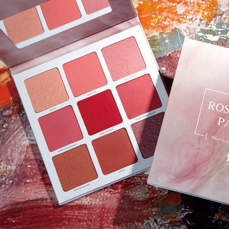 Professional 9 Colors Marble Shimmer Blusher Blush Powder Face Pigment Palette Blush Contour Bronzer HOT