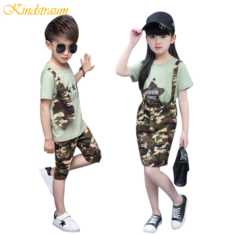 Kindstraum Kids Summer Clothing Sets for Boys Girls Camouflage Sports Suits 2pcs Children Fashion Cotton Clothes Sets, MC671 2017 kids clothing sets for girls striped print sports suits girls tracksuits cotton casual sportswear children outfits 13 14 t