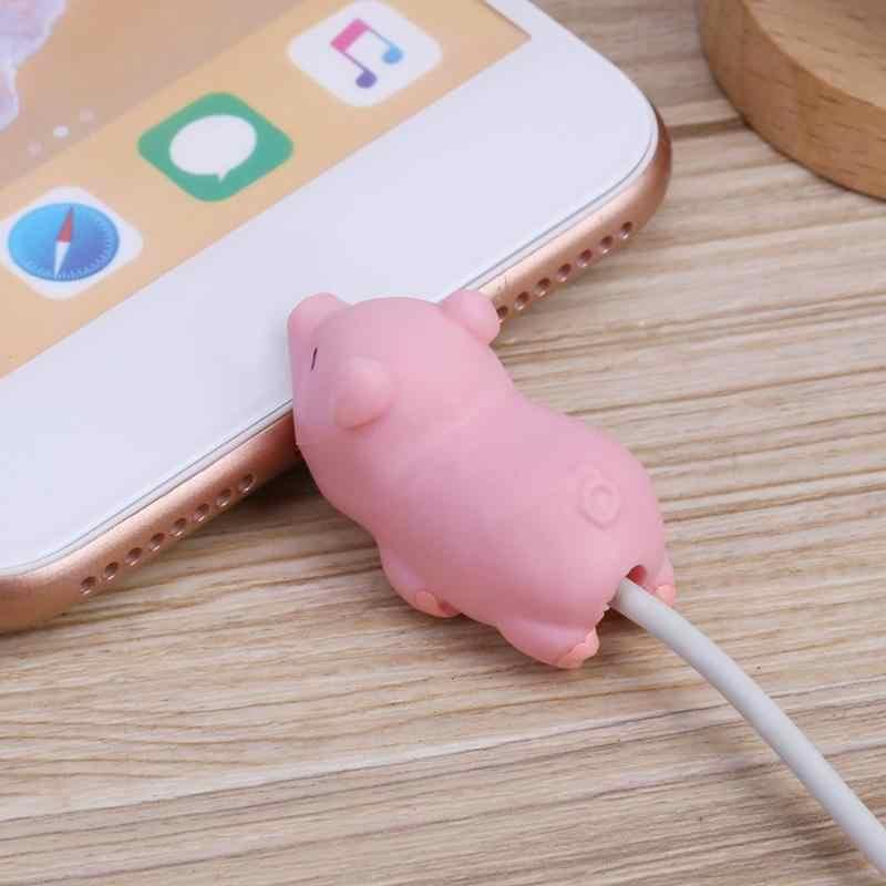 Kartun Hewan USB Kabel Pelindung Rumah Charger Data Line Tali Penutup Usb Pengisian Mainan Kabel Winder Pelindung Case