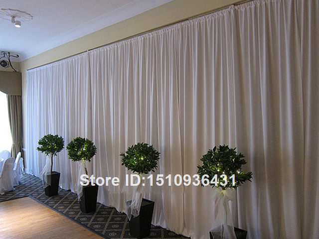 Wedding Pipe & Drape White Color Backdrop Stand with Curtain 10 feet ...