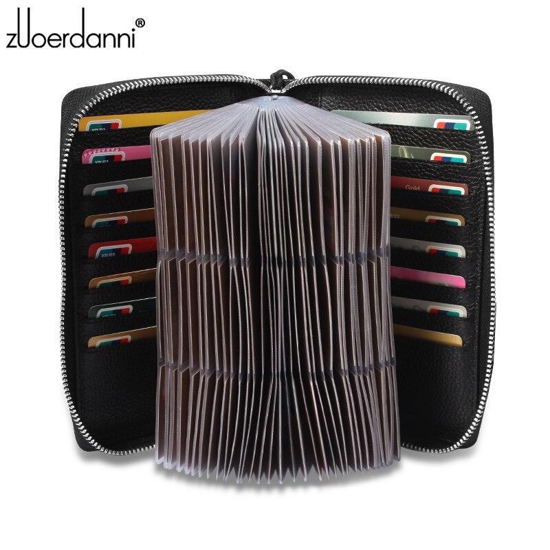 Grande capacité carte à glissière sac en cuir hommes affaires porte-carte femmes carte de crédit paquet mode A81F