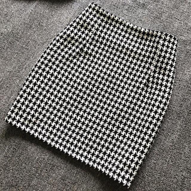 New 2019 Spring Autumn Winter Women Skirt High Waist Mini Skirt Plus Size Sexy Short Skirt Houndstooth Woolen Skirts Women S373 2