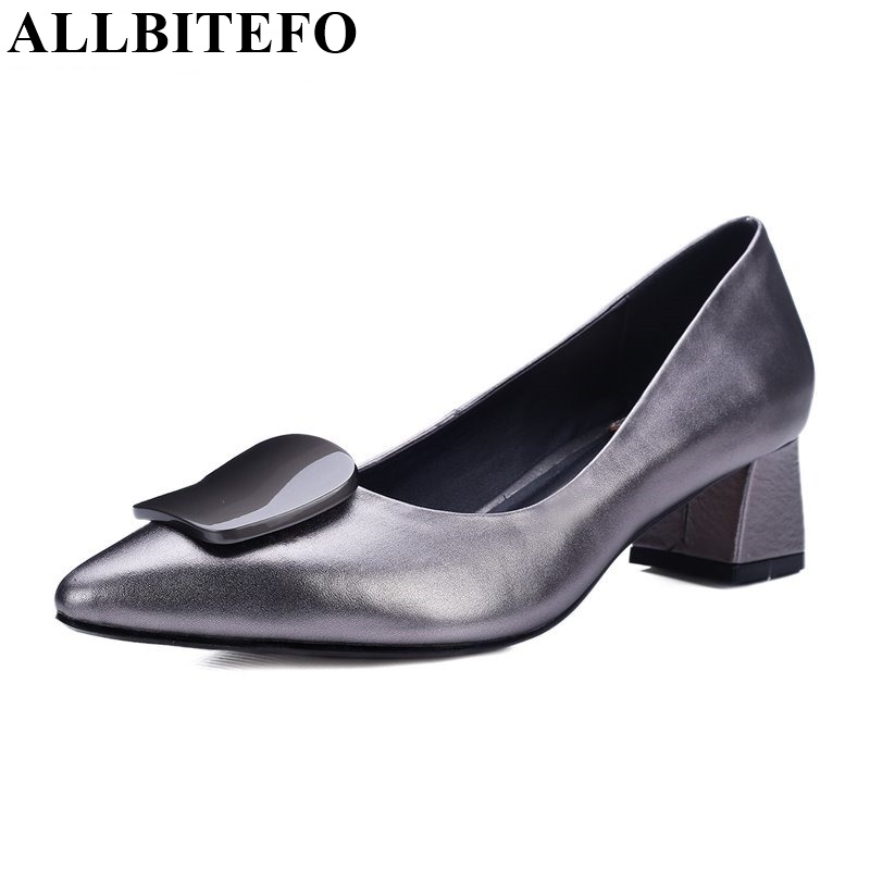 ALLBITEFO pointed toe High-heeled shoes genuine leather charm fashion party shoes platform High quality women pumps size:34-42 hot sale square toe full genuine leather charm design platform women pumps platform fashion casual party shoes ladies shoes