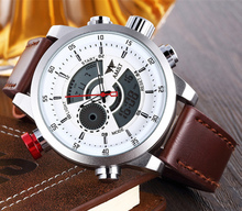 Men Wristwatches Famous Brand AMST Original Quartz Digital Mov't Genuine Leather Strap Outdoor Waterproof Multifunctional Watch