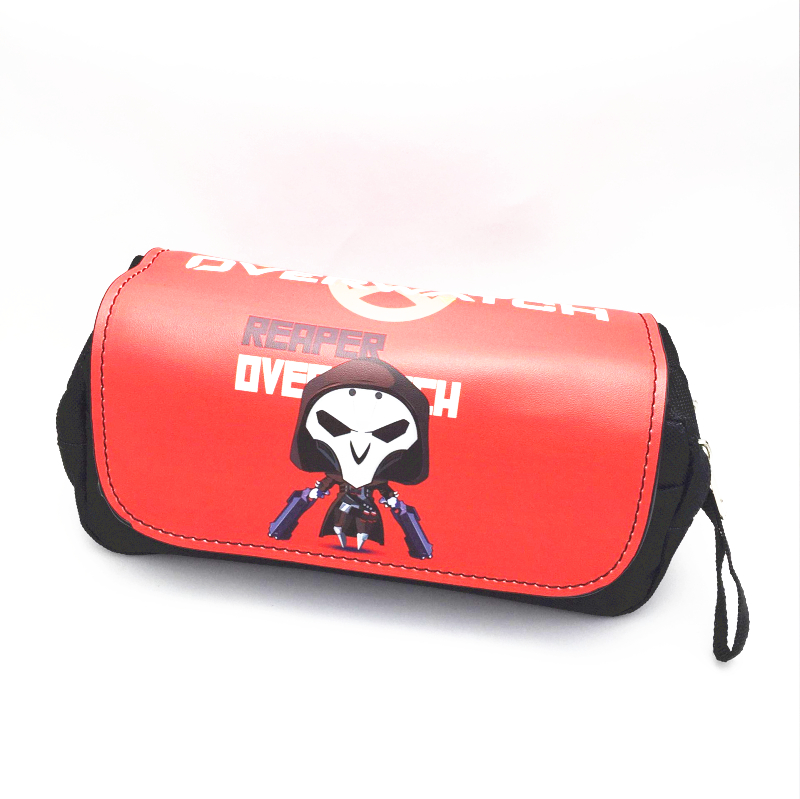 overwatch Reaper canvas Double zipper pen bag case Assassin's Creed totes make up purse school supplies big capacity high quality canvas shark double layers pen pencil holder makeup case bag for school student with combination coded lock