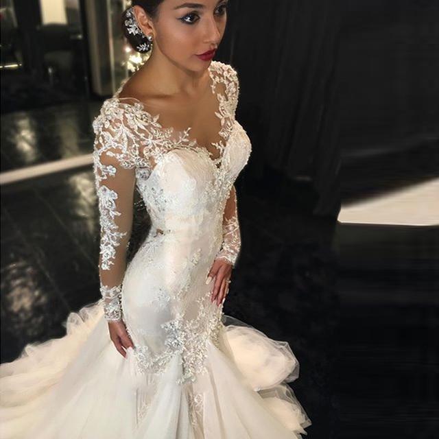 2018 Vintage Long Sleeves Mermaid Lace Wedding Dresses Luxury Beaded  Vestido De Noiva Sexy V Neck Illusion Back Bridal Gown 6da424d26233