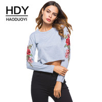 HDY Haoduoyi Rose Embroidery T Shirts Women Long Sleeve Floral Printed Sexy Short T Shirt Casual
