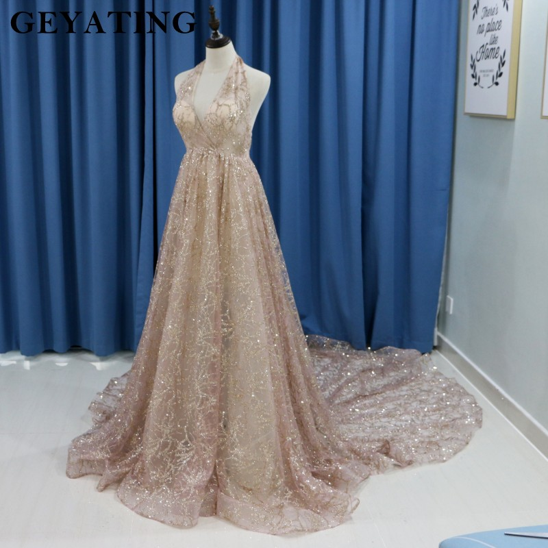Sparkling Rose Gold Champagne Wedding Dress 2018 Sexy Halter Open