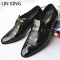 LIN REY marca Sólida Pisos Resbalón de Los Hombres de Negocios Oxfords zapatos de Vestido de Los Hombres Ocasionales de La Pu de Cuero de Oxfords Zapatos Clásicos Masculinos botas