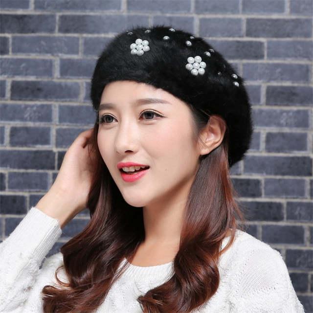 ecd2d42e007d3 placeholder Women Rabbit Fur Beret Hat Faux Pearl White Black Womens Hats  Female Winter Cap Hat 021