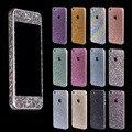 Fashional belleza diamante de cristal del brillo de bling full body engomada de la decoración de la piel caso protector para iphone 5 5s 4 4s