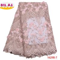 2018 Latest French Nigerian Laces Fabric High Quality White African Lace Fabric Lace Trim Black Appliques For Wedding NA1629B 2
