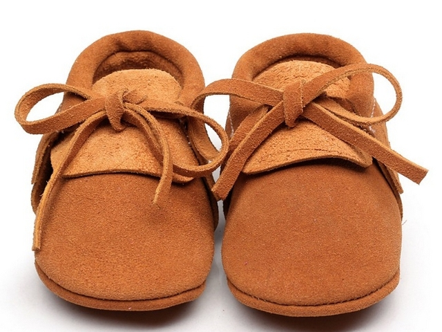 2016 new 9colors handmade suede Genuine Leather Baby Moccasins Shoes solid lace up soft sole Baby girls boys Shoes first walkers