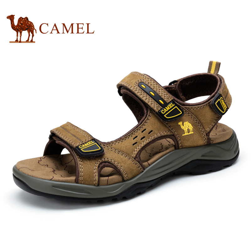 Camel sandals spring and summer men sandals breathable leisure exposed toe leather beach sandals A622344217 camel men s outdoor anti collision toe cap cowhide casual beach sandals summer breathable river sandal male a622309222