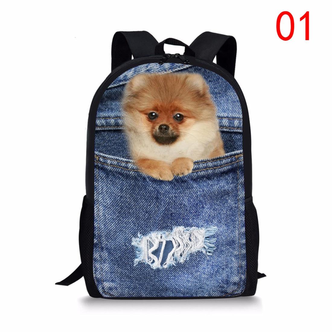 New 2017 Cool Printing Denim Cat Dog Backpack for Children High Primary School Student Kids Backpack Teen Boys Girls Bookbags