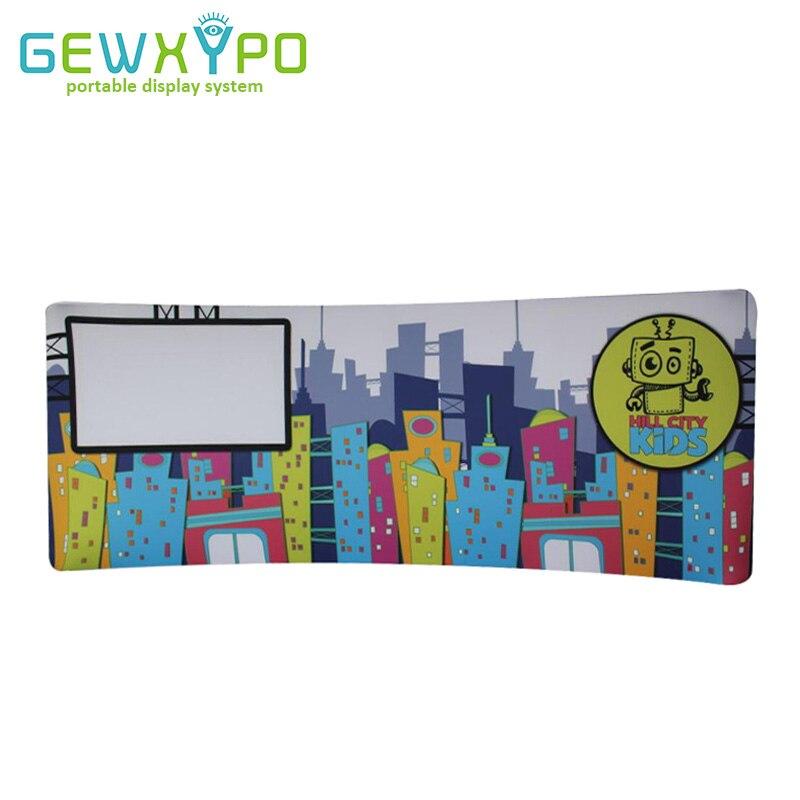 20ft * 7.5ft стенда изогнутые натяжение Ткань Графический Дисплей стенд с передачи тепла, Портативный рекламный баннер стены