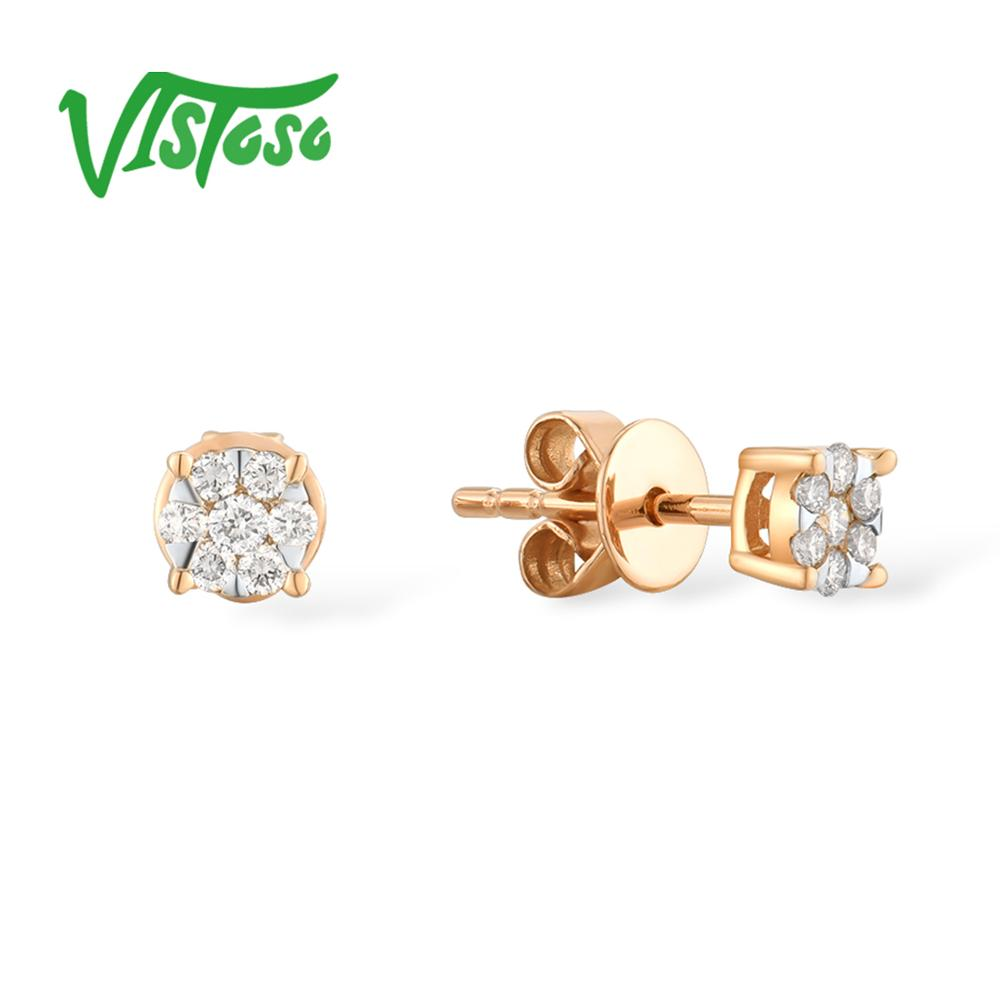 VISTOSO Gold Earrings For Women 14K 585 Rose Gold Sparkling Diamond Dainty Round Cirle Stud Earrings Fashion Trendy Fine Jewelry